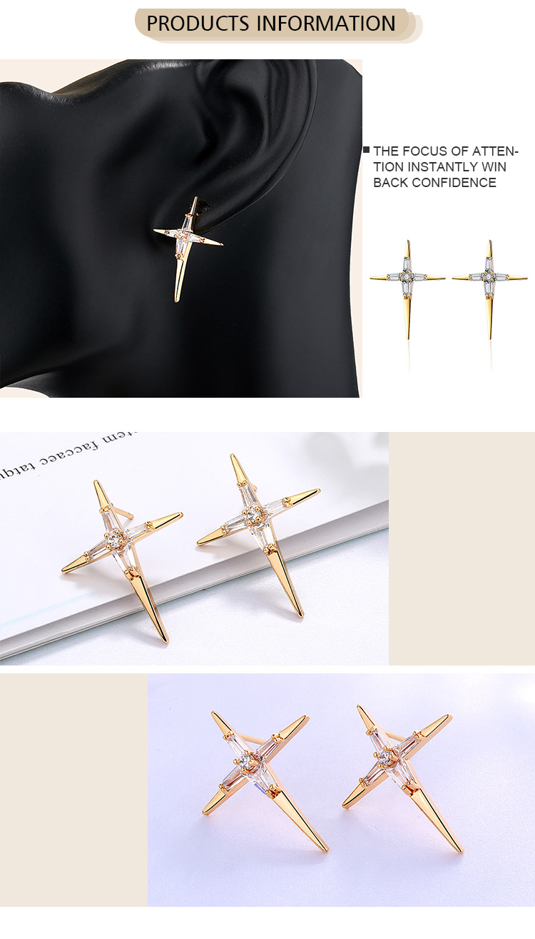 Korean Style Earring Gold Alloy Decoration Stud Earrings Ornaments Fashion Twinkling Star Shape Stud Earrings