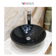Lowest price China black nature wash decorate bathroom basin round marble stone bathroom vessel sink