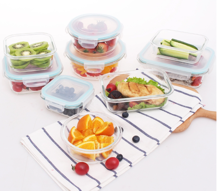 China factory 9 pack meal prep container set heat resistant glass food box meal prep lunch bento