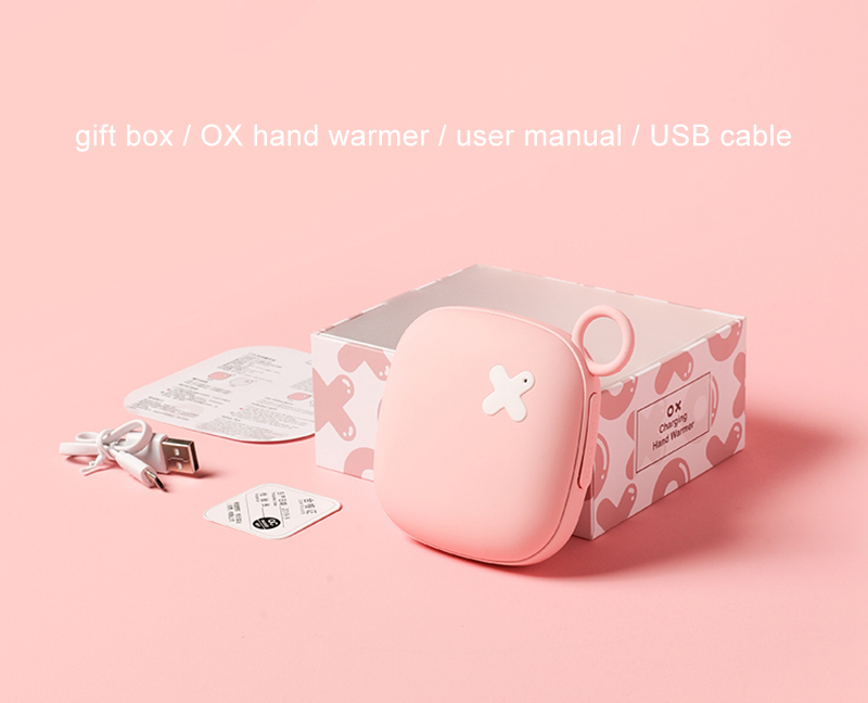 Cute 2020 electric hot pack hand warmer  hand warmer power bank 5000mah power bank with USB cable