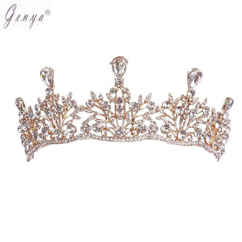 GENYA Fashion Clear Alloy Plated Plant Shaped Wedding Tiara Jewelry Bling Setting Geometrical Crystal Women Pageant <strong>Crown</strong>