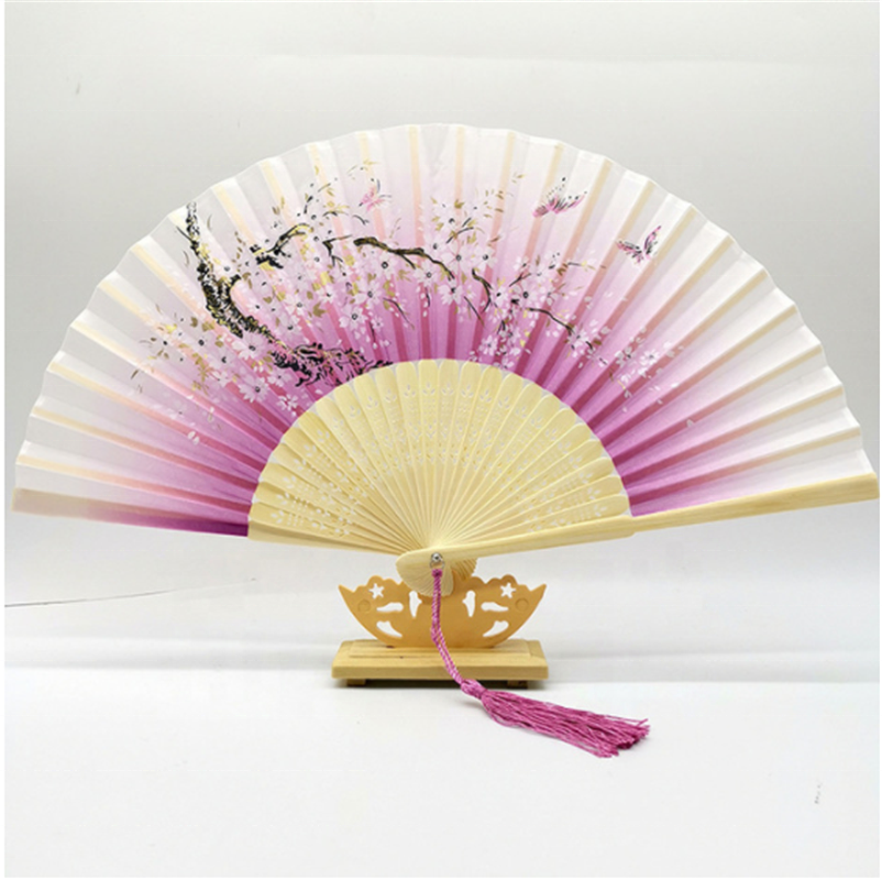 2020 Hot Sale <strong>Chinese</strong> Bamboo Fabric Handmade Folding Wedding Hand <strong>Fans</strong>
