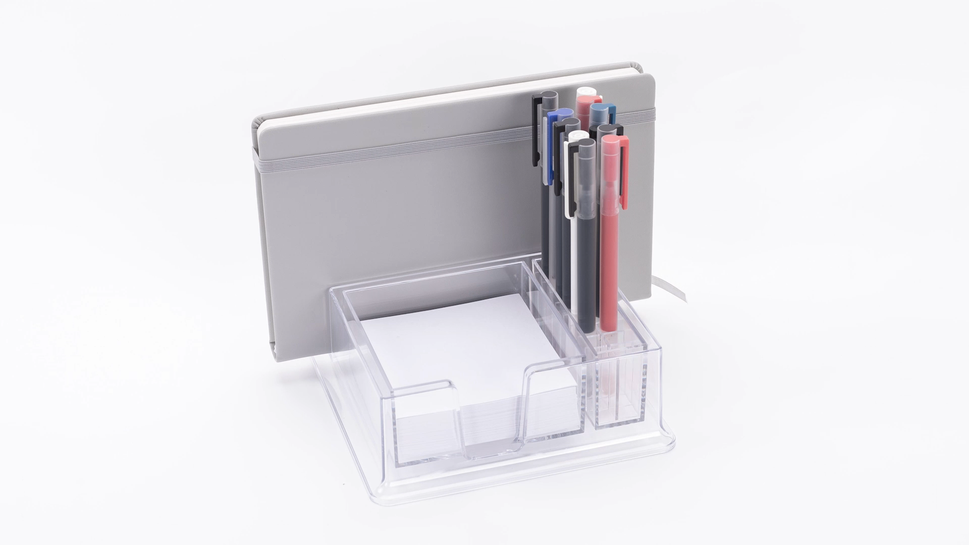 Plastic Clear  desk organization 9.5 x 9.5 cm card holder Note holder with pen holder