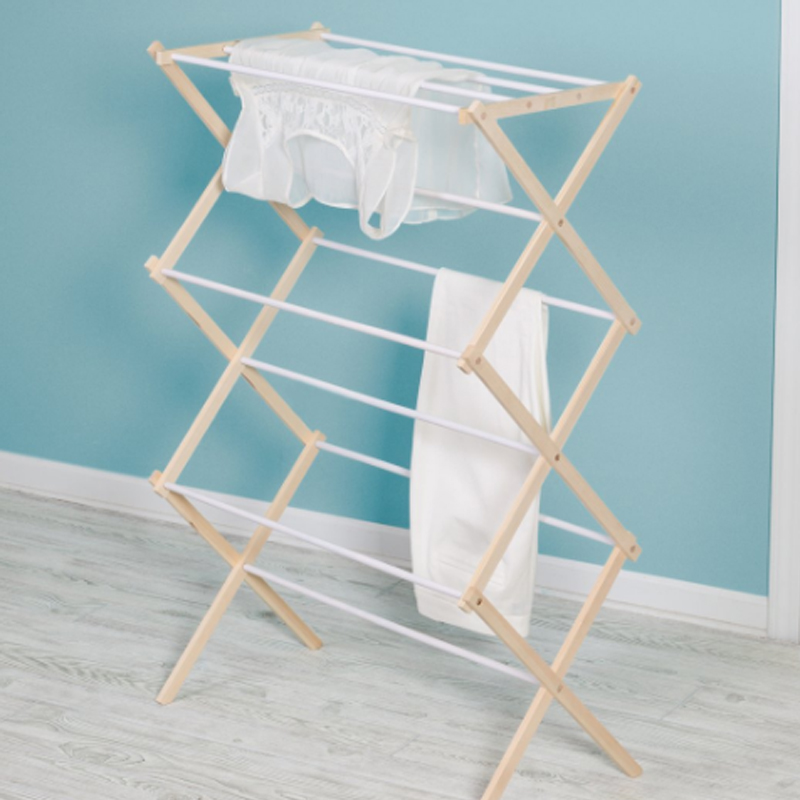 Foldable 3 tier clothes drying rack rolling collapsible laundry dryer hanger stand indoor outdoor dark grey cloth storage rack
