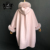 Janefur Pink Spring Ladies Cashmere Trench Cashmere Cloak Coat with Fox Fur Trim