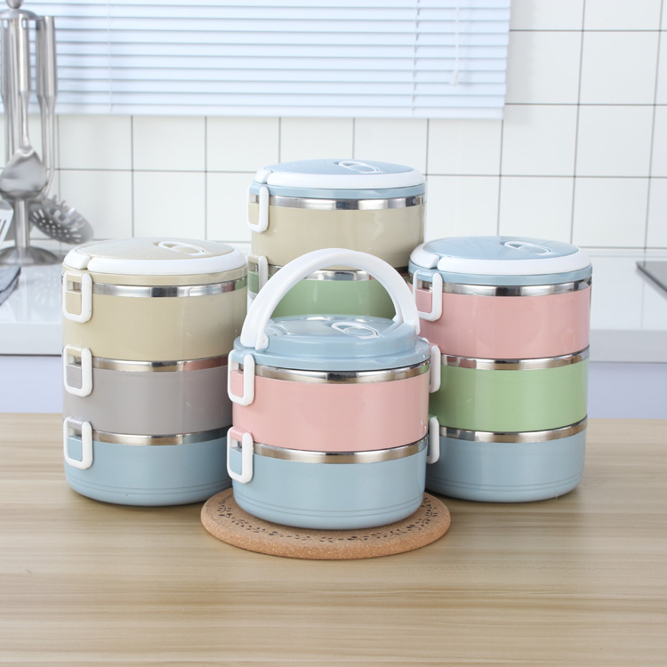 Wholesale Stackable Stainless Steel metal liner Round Insulation layered tiffin lunch box