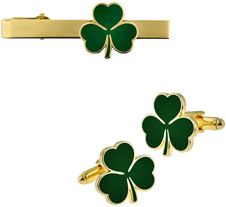 Gold Plated Green Shamrock Clover Tie Clip and Cufflink 2 Piece Bundle