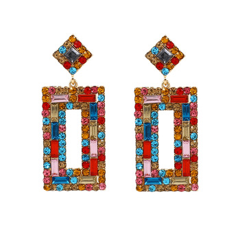 wholesale fashion crystal color stone earrings geometric vintage elegant color earrings for women