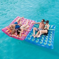 Double inflatable swimming pool lounger air bed mattress