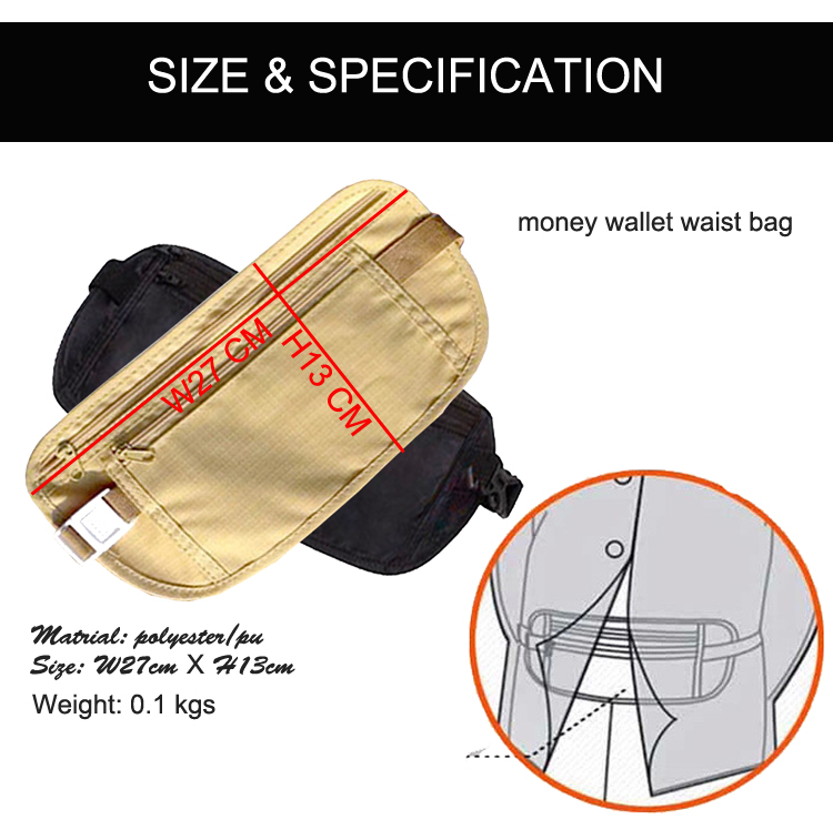 Ultra Thin Waterproof Money Belt Travel Waist Bag traveling nylon business passport fanny pack bum bag