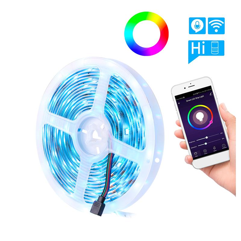 12V Flexible Smd 5050 Rgb 5M Led Strip Light With Bluetooth Controller Sync