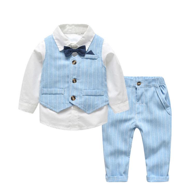 ชุดสูทสำหรับเด็กผู้ชาย,ชุดเสื้อผ้าสุภาพบุรุษ3ชิ้นลายทางสีน้ำเงิน + ผูกโบว์ใหม่สำหรับฤดูใบไม้ผลิและฤดูใบไม้ร่วง
