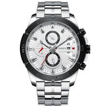 Мужские кварцевые часы CURREN, деловые часы из нержавеющей стали с секундомером, армейские спортивные(Китай)