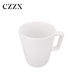 China factory bulk solid coffee milk white sublimation porcelain mug with rectangle handle for home hotel