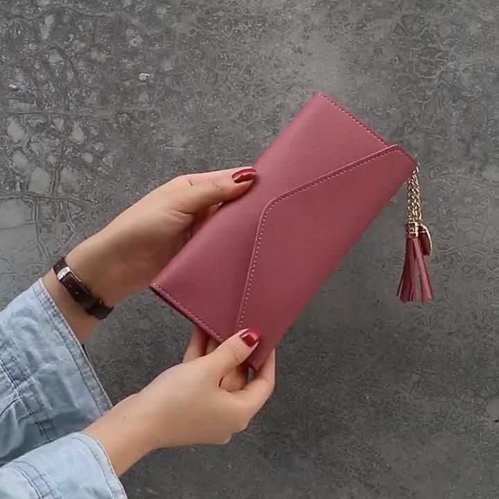 ארוך ארנק טהור צבע אופנה קטן שקיות נשים תיקי עור מפוצל כרטיס אישה ארנק לנשים