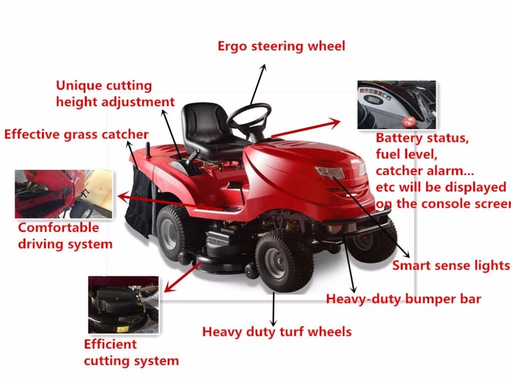 New design gasoline riding lawn mower ride on lawn mower tractor for sale