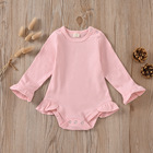 Plain Toddler Wholesale New Arrival Low MOQ Infant Cotton Ruffle Fall Plain Baby Girls Rompers Toddler Jumpsuirt