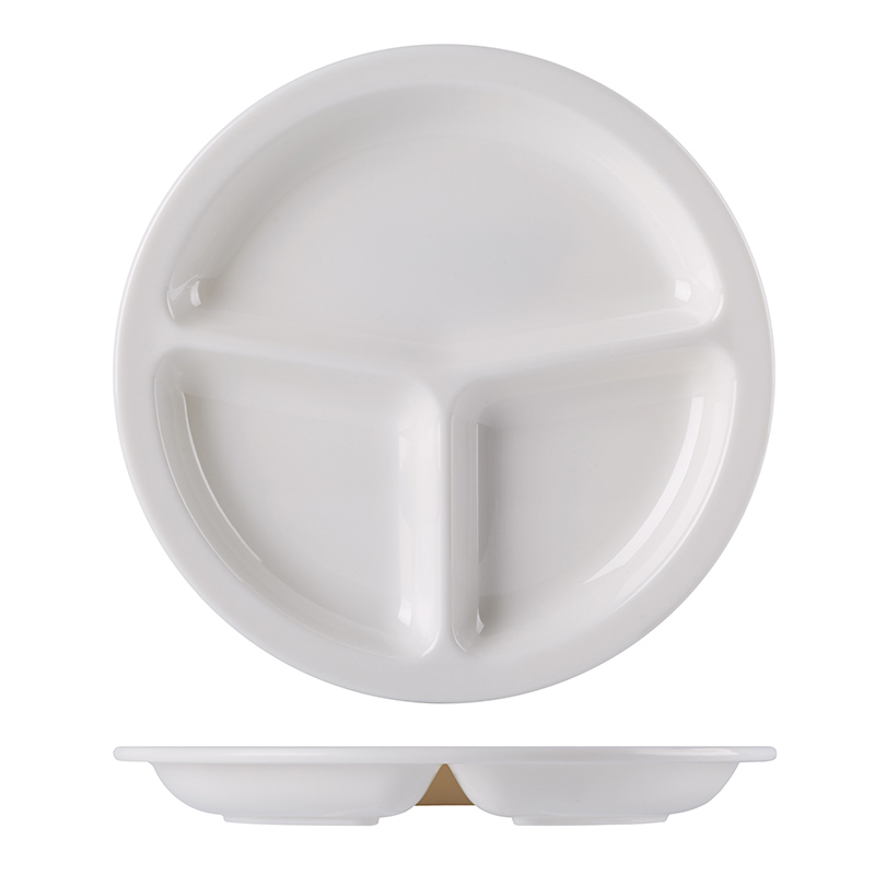 Wholesale Fast Food Restaurant A8 Melamine Divided Plate, Cheap Plastic Separate Plates