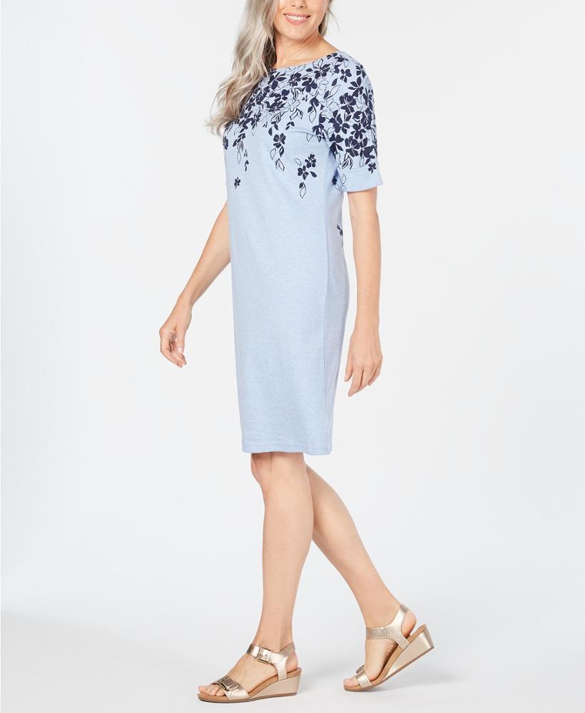 Sommer Elegante Licht Blau Floral Print Kleid Kurzarm O ...