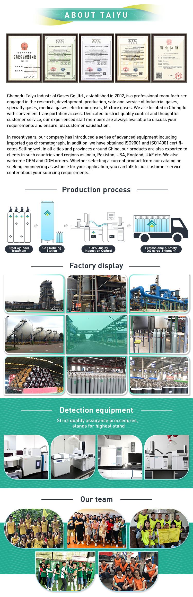 99,95 industrial de etileno del cilindro de gas precio por tonelada de etileno en Malasia C2H4 Precio de gas para frutas de maduración