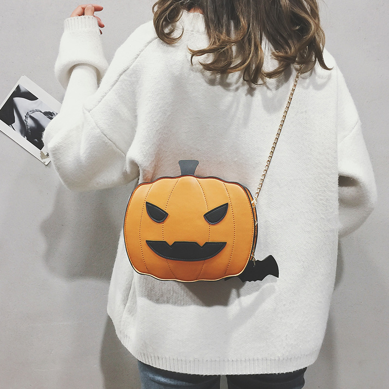 Osgoodway2 Funny pumpkin shape cute personality girls chain crossbody bag ladies casual handbags