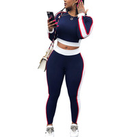 Two piece crop top set jogging wear gym track suit sport tracksuit