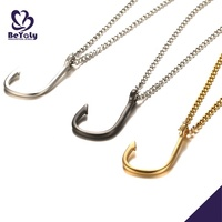 High Quality Men'S Stainless Steel Custom Ancor Style Charm Fishing Hook Pendant