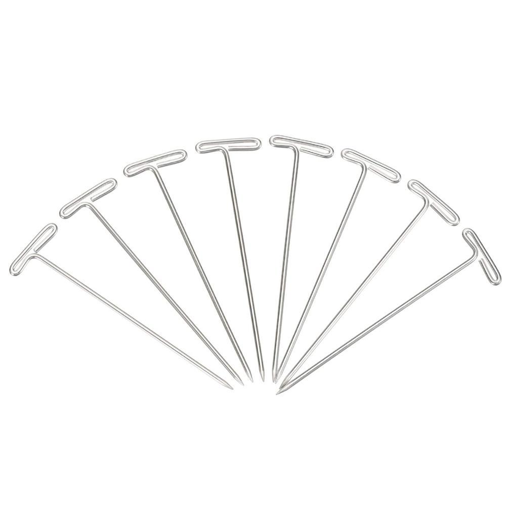 25 Buah Pin T Perak Logam Pin Baja T-pin untuk Memblokir Wig Rajut