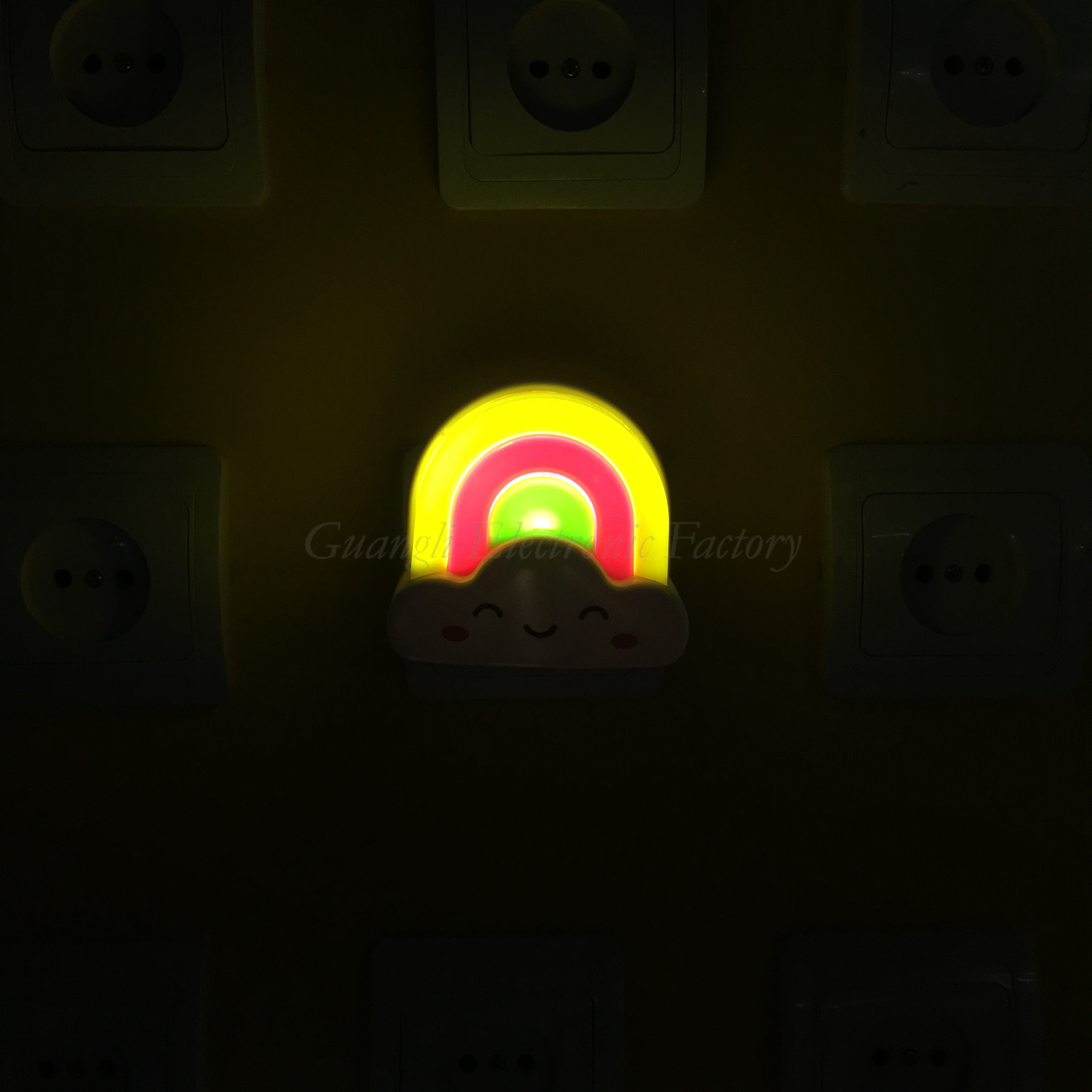W030 rainbow shape LED SMD mini switch plug in night light and 110V or 220V AC