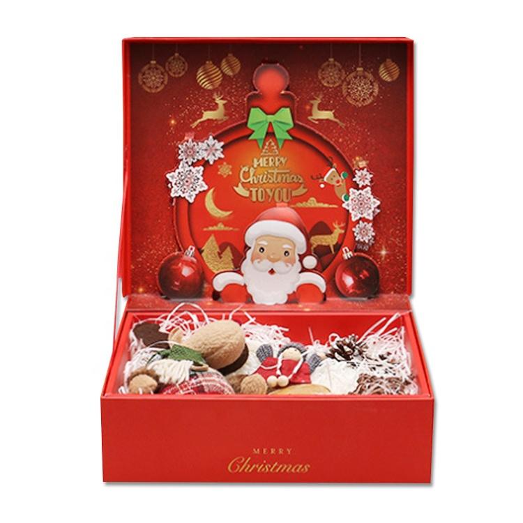 Wholesale custom logo rigid cardboard kraft paper craft box for Christmas hamper present gift boxes packaging