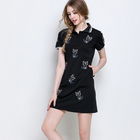 fashion summer cartoon cat embroidery turn-down collar short sleeve patchwork polo dress