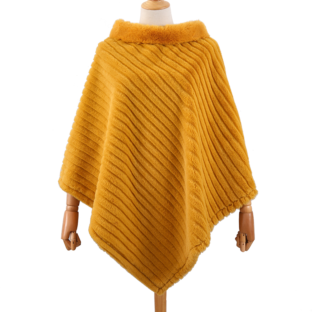 Fashion Striped <strong>Faux</strong> Rabbit Fur Cloak <strong>Wrap</strong> Shawl Fur collar for women <strong>faux</strong> fur cape