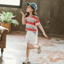 Летняя одежда для девочек, полосатая футболка с рисунком + шорты, комплекты для девочек из 2 предметов, одежда для девочек-подростков(Китай)