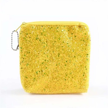 High quality square coin purse new fashion women's sequins cosmetic bag exquisite data line headset change storage bag