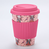 Z065 2019 Factory Price Promotional Custom Plastic PP Silicone cover bamboo fiber Reusable Coffee Cup with Lid