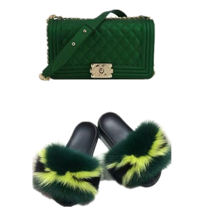 Custom 2 pieces set women jelly purse with fur slides set matching color PVC bags with slippers raccoon sandals neon fur slides