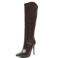 Crocodile Grain Women's Claf High Dress Boots Knee High Pull on Booties Pointed toe High Heel Stiletto Winter Long Boots Shoes