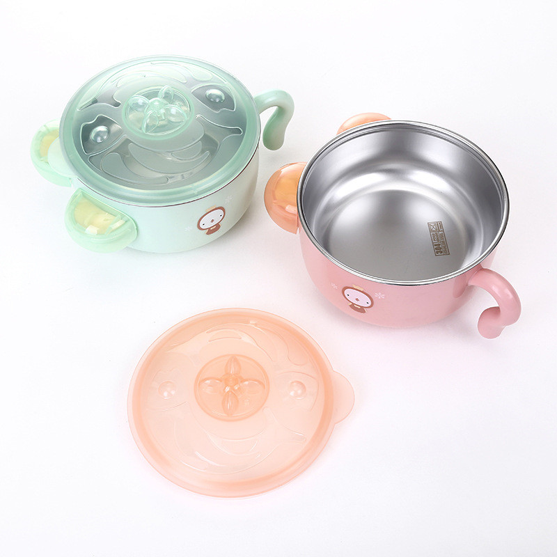Baby 304 Stainless Steel Children Eating Cartoon Hot Cold Insulation Dual-use Tableware Edible Bowl