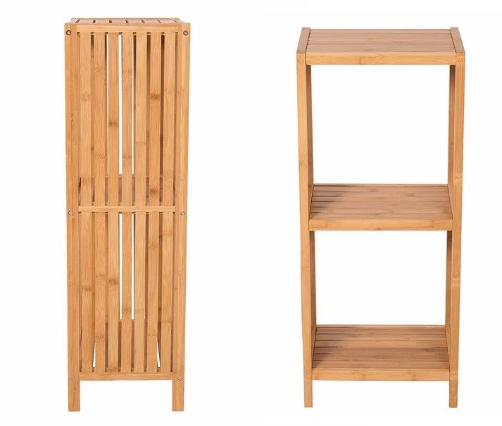 Eco- Friendly 3 Tiers Natural Bamboo Bathroom Corner Storage Rack 5
