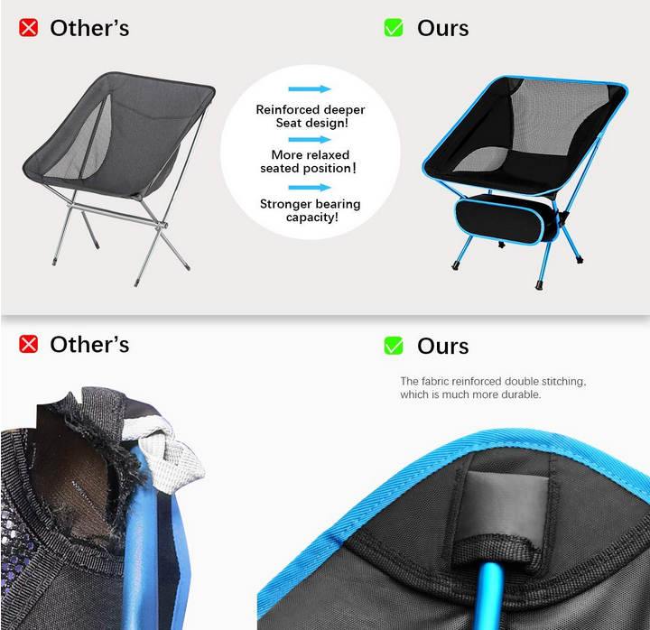 Easy Carry Lightweight Aluminium Frame Small Camping Chair