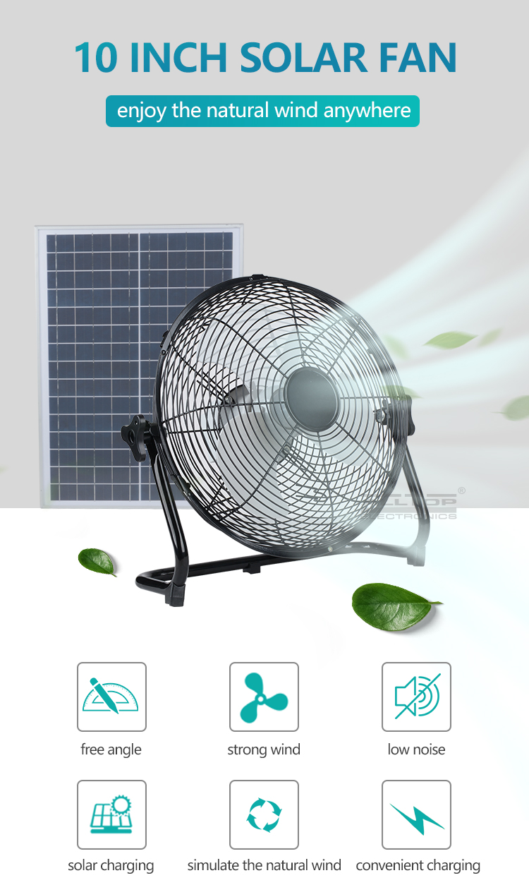 ALLTOP High quality energy saving 10 Inch 24w solar panel with usb rechargeable solar fan