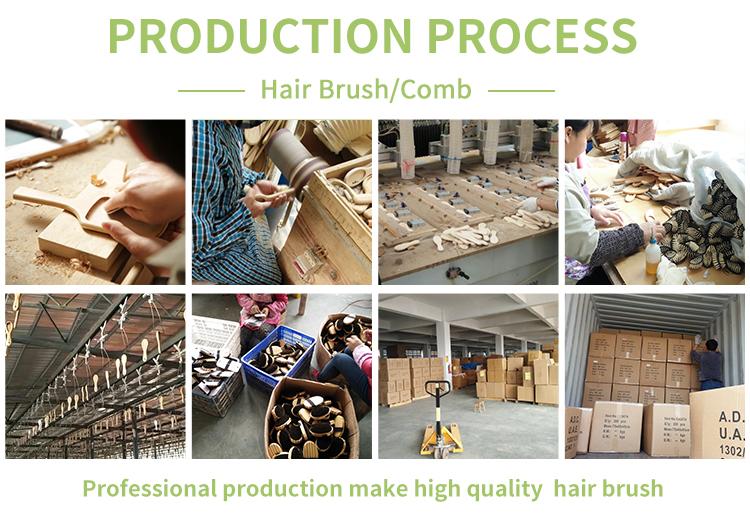 חם למכור חזיר זיפי שיער מברשת עיסוי מסרק שיער קרקפת ההנעה מברשת ב חור עץ ידית שיער מברשת