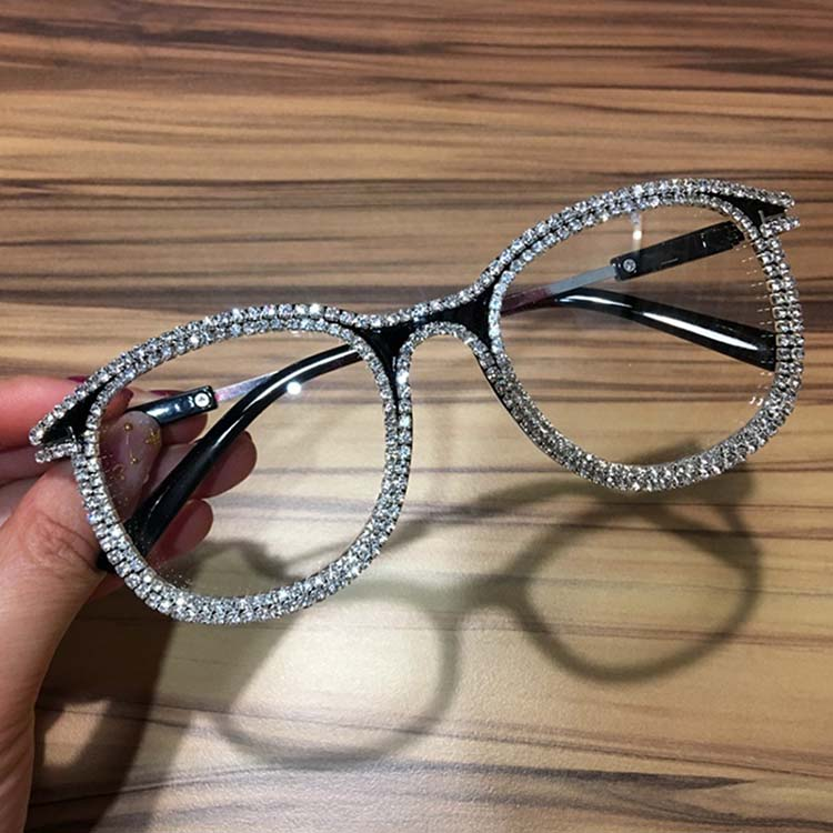 Women designer metal round fashion diamond frame clear sunglasses