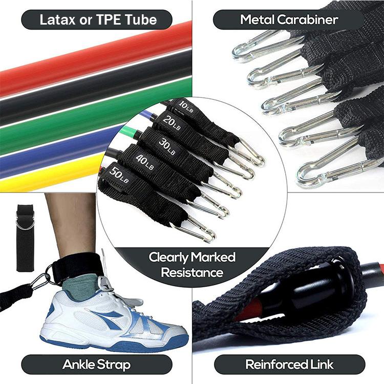 2020 casa gimnasio goma fuerte elástico Fitness conjuntos a granel de 11 piezas de ejercicio de resistencia bandas elásticas
