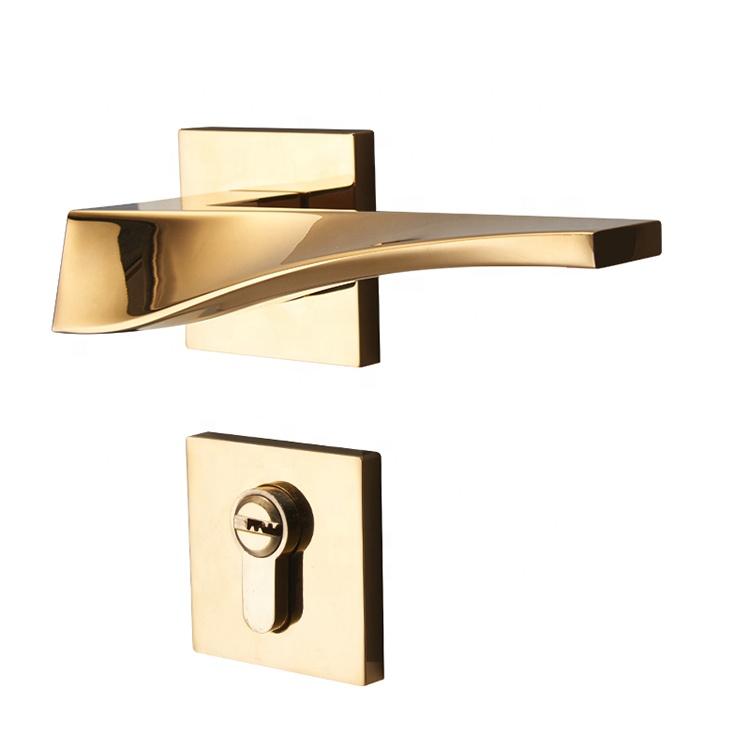 YONFIA 新ラグジュアリーローズゴールド亜鉛合金ドアロック現代ミニマリストのドアハンドル