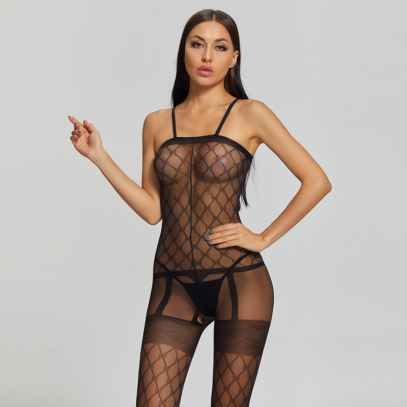 Custom Fishnet Open Crotch Erotic Sleeved Lingerie Babydoll Bodystocking Lingerie