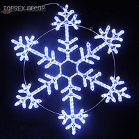 TOPREX DECOR Giant Christmas Twinkling LED Rope metal crystal Snowflake Ornaments Light