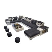 Factory Wholesale Modern Fabric Sofa U Shape Sectional Sofa Set 7 Seater Couch Living Room Sofa Cama