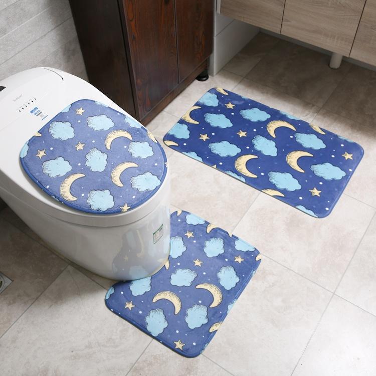 Banyo ürünleri dijital baskı su emme kaymaz zemin Mat yumuşak 3 parça Set tuvalet banyo paspasları