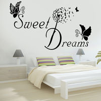 DIY home decals quotes mural arts printing pvc poster sweet dreams wall stickers bedroom decoration